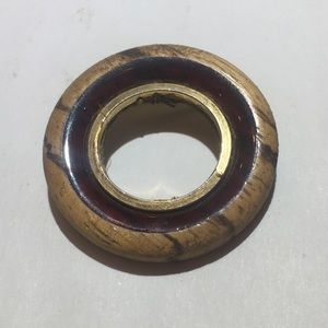 Vintage wooden gold ring brooch pin